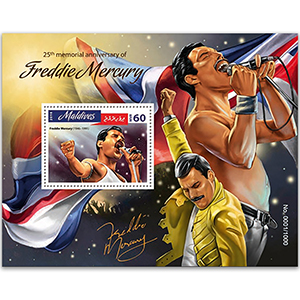 25th Memorial Anniversary of Freddie Mercury 2016 - Miniautre Sheet - Maldives