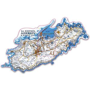 Alderney 1st Edition Alderney & Burhou Map 1v M/S 1/2/17