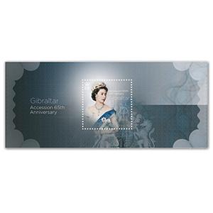 Gibratlar QEII 65th Ann Accession Sapphire Anniversary £3 M/S 14/3/17