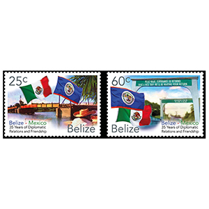 2017 Belize 35th Ann.Dip.F'ship Belize & Mexico 2v 27/9/17