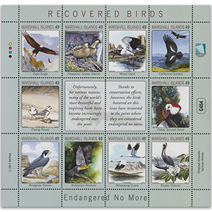 **2017 Marshall Islands - Recovered Birds Endangered No More 10v Shlt