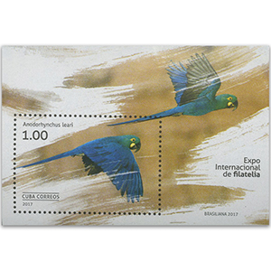 2017 Cuba Philatelic Exhibition, Lear's Macaw M/S (imperf)