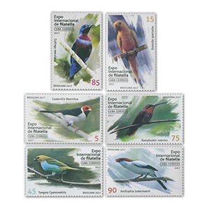 2017 Cuba Philatelic Exhibition, Exotic Birds 6v Set