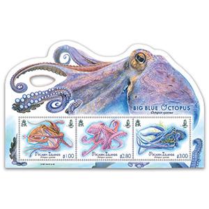 2018 Pitcairn Blue Octopus  3v M/S