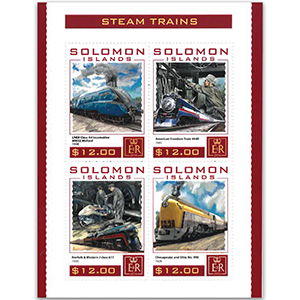 2016 Solomon Islands Steam Trains 4v Shlt