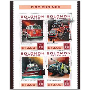 2016 Solomon Islands Fire Engines 4v Shlt