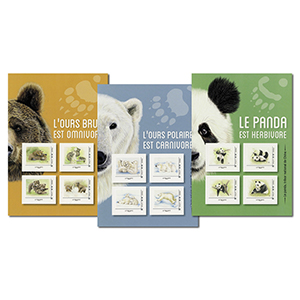 2019 France L'Ours Brun, Panda, Polaire 3 Collectors Sheetlets