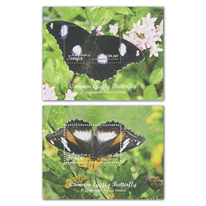 2019 Tonga Butterflies Domestic & Internation Set of 2 M/S's