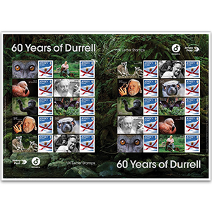 Jersey 60 Years of Durrell Commemorative Sheet