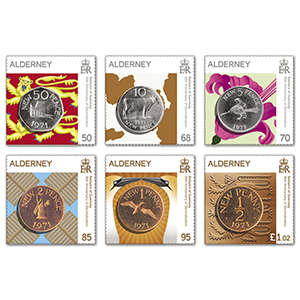 2021 Alderney 50th Anniversary Decimalisation 6v Set