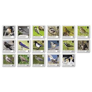 2021 Guernsey Definitives Birds 17v Set
