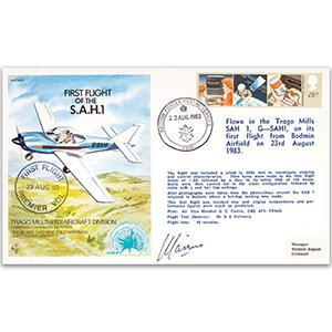 1983 First Flight of S.A.H. 1 - Signed by pilot AVM G. Cairns CBE