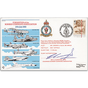 1985 Formation Bomber Command Assoc. - Signed by E. Cummings BFM, Chairman.