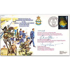 1989 Royal Auxiliary Air Force Colour - Signed Dukes of Hamilton & Grafton and Sir Rex Hunt
