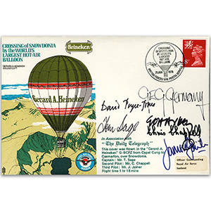 1975 Crossing of Snowdonia in World's Largest Balloon - Signed by Captain Tom Sage & 5 Crew