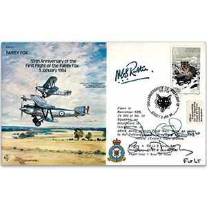 1984 Jersey - Fairey Fox 1st Flight 59th - Signed by AVM N.C. Rutter CBE