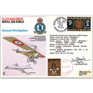 1973 No. 201 Sqn - Guernsey's Own - Signed by Wing Commander J. M. Alcock and 12 others