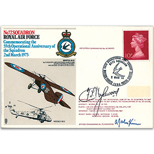 1973 No. 72 Sqn 55th Anniversary - Signed by AVM F. Hazlewood