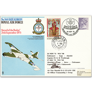 1973 No. 360 Sqn - 'Award of the Badge' - Signed by AVM G. D. Evans CBE
