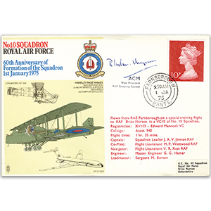 1975 No. 10 Sqn 60th - Signed by ACM Sir Ronald Ivelaw-Chapman KCB