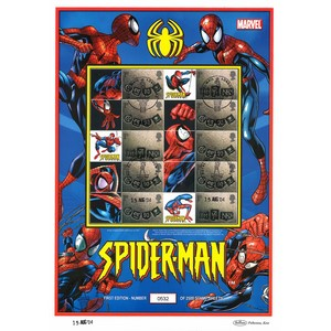 Spiderman Stamp Sheet Card 15/08/04
