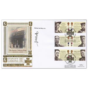 2006 Victoria Cross 150th Stamps Special Gold Cover - Signed by Michael Hall