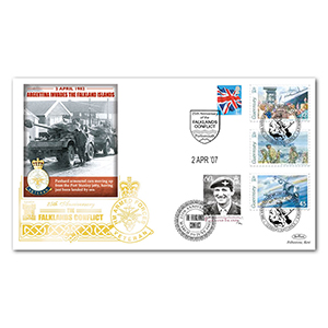 2007 Falklands 25th Special Gold Cover - Invasion