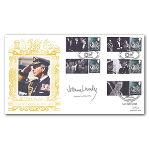 2008 Prince Charles Commemorative Sheet Special Gold Cover - Signed by Joanna Lumley OBE