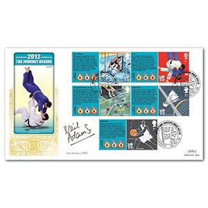 2009 Olympic and Paralympic Games Comm. Sheet. 1 Special Gold - Cover 2 - Signed by Neil Adams MBE
