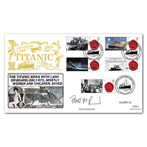 2012 Titanic Centenary Commemorative Sheet Special Gold - Cover 2 - Signed by Peter McDonald