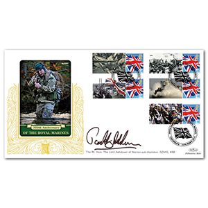 2014 Royal Marines 350th Comm. Sheet Special Gold - Cover 2 - Signed by Paddy Ashdown