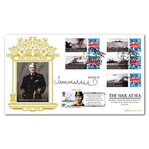 2014 WWI The War at Sea Commemorative Sheet Special Gold Cover - Signed by Dr. Sam Willis