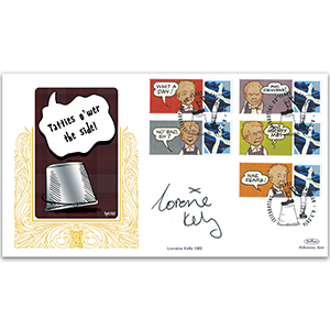 2016 Oor Wullie Commem.Sheet Special Gold Cover 1 - Signed by Lorraine Kelly OBE