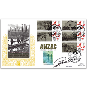 2016 Anzac Commemorative Sheet Special Gold - Cover 2 - Signed by John Torode