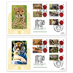 2018 United for Wildlife Commemorative Sheet Special Gold Pair of Covers