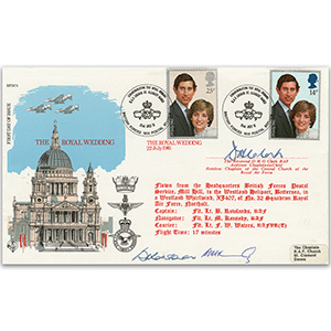 1981 Royal Wedding RFDC Official - Signed by Rev. D. Clark, Asst. Chaplain-General & Flight Crew