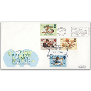 1984 British Council 50th - Royal Mail FDC - Doctor Johnson, Lichfield slogan