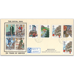 1985 350 Years of Royal Mail - Charles I Cover, Brighton CDS