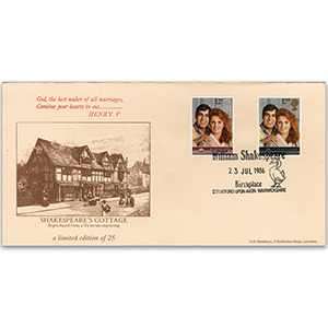 1986 Royal Wedding. Shakespeare's Cottage, Stratford h/s - Bradbury FDC