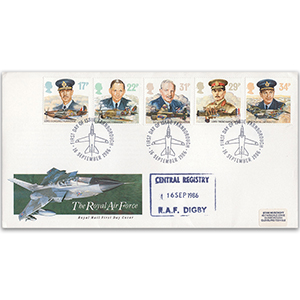 1986 RAF - Central Registry RAF Digby Cachet - Farnborough Handstamp