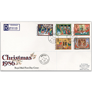 1986 Christmas - Dewsbury - Royal Mail FDC