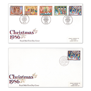 1986 Christmas R.M. pair of covers, Bathlehem, Llandeilo handstamp