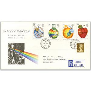 1987 Isaac Newton Anniversary - Royal Mail FDC - Buckingham Palace CDS