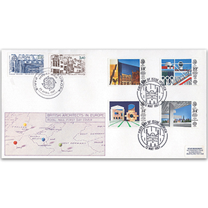 1987 Europa: British Architects in Europe Royal Mail FDC - Ipswich FDI - Paris Double