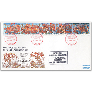 1988 Spanish Armada 400th - Paquebot Cachet, Dover Cancel - Royal Mail FDC