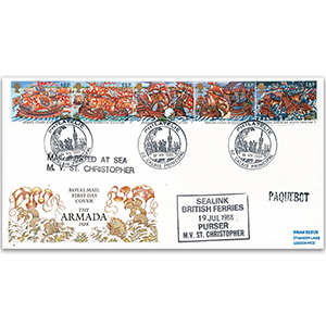 1988 Spanish Armada 400th: Paquebot cachet, Calais cancel - Royal Mail FDC
