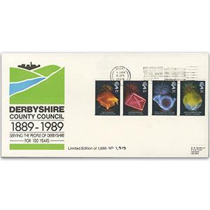 1989 Anniversaries Derbyshire C.C. slogan on special cover