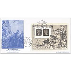 1990 Penny Black M/S Rule Britannia official