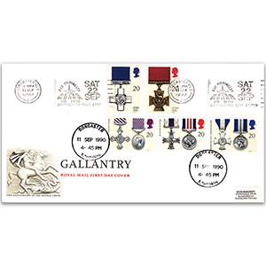 1990 Gallantry - RAF Finningley, Doncaster Slogan - Royal Mail FDC