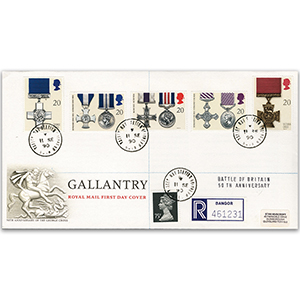 1990 Gallantry Royal Mail FDC - Valley RAF CDS - Battle of Britain 50th